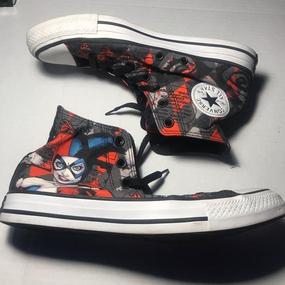 gorra fecha límite Por separado  Converse Shoes | Rare Harley Quinn Converse High Top Nwot | Poshmark